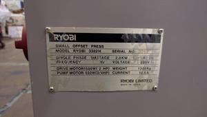 """枚葉 2色 オフセット印刷機 3302H """"A3版縦通し"""" リョービ(RYOBI)製 「封筒印刷などに最適な機種☆」"""